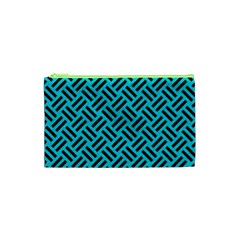 Woven2 Black Marble & Turquoise Colored Pencil Cosmetic Bag (xs)