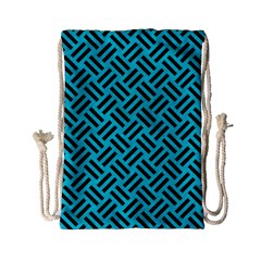 Woven2 Black Marble & Turquoise Colored Pencil Drawstring Bag (small)