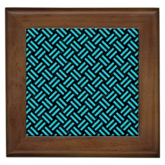 Woven2 Black Marble & Turquoise Colored Pencil (r) Framed Tiles
