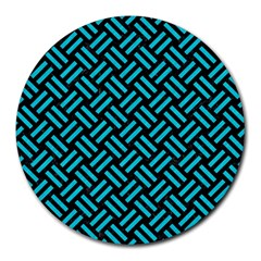 Woven2 Black Marble & Turquoise Colored Pencil (r) Round Mousepads