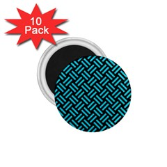 Woven2 Black Marble & Turquoise Colored Pencil (r) 1 75  Magnets (10 Pack)