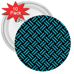 Woven2 Black Marble & Turquoise Colored Pencil (r) 3  Buttons (10 Pack)