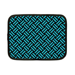 Woven2 Black Marble & Turquoise Colored Pencil (r) Netbook Case (small)