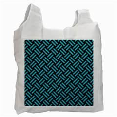 Woven2 Black Marble & Turquoise Colored Pencil (r) Recycle Bag (two Side)