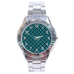 Woven2 Black Marble & Turquoise Colored Pencil (r) Stainless Steel Analogue Watch