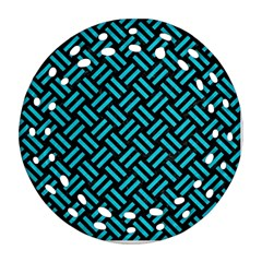 Woven2 Black Marble & Turquoise Colored Pencil (r) Round Filigree Ornament (two Sides)