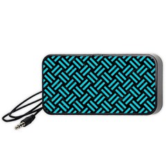 Woven2 Black Marble & Turquoise Colored Pencil (r) Portable Speaker
