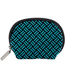 Woven2 Black Marble & Turquoise Colored Pencil (r) Accessory Pouches (small)