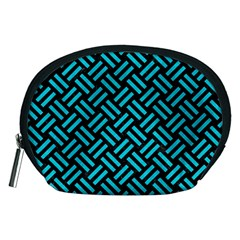 Woven2 Black Marble & Turquoise Colored Pencil (r) Accessory Pouches (medium)