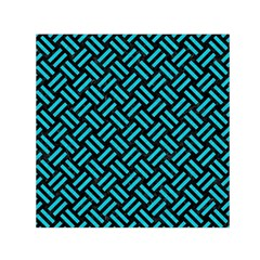 Woven2 Black Marble & Turquoise Colored Pencil (r) Small Satin Scarf (square)