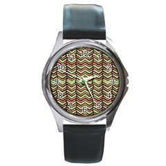 Zig Zag Multicolored Ethnic Pattern Round Metal Watch