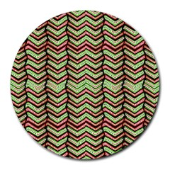 Zig Zag Multicolored Ethnic Pattern Round Mousepads