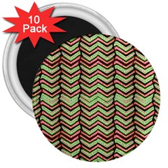 Zig Zag Multicolored Ethnic Pattern 3  Magnets (10 Pack)