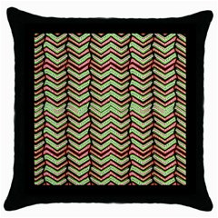 Zig Zag Multicolored Ethnic Pattern Throw Pillow Case (black)
