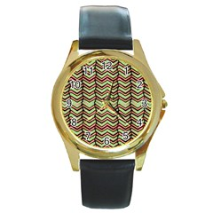 Zig Zag Multicolored Ethnic Pattern Round Gold Metal Watch