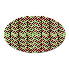 Zig Zag Multicolored Ethnic Pattern Oval Magnet