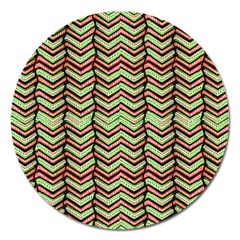 Zig Zag Multicolored Ethnic Pattern Magnet 5  (round)