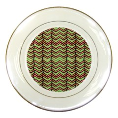 Zig Zag Multicolored Ethnic Pattern Porcelain Plates