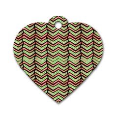 Zig Zag Multicolored Ethnic Pattern Dog Tag Heart (two Sides)