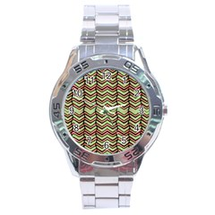 Zig Zag Multicolored Ethnic Pattern Stainless Steel Analogue Watch