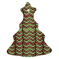Zig Zag Multicolored Ethnic Pattern Christmas Tree Ornament (two Sides)