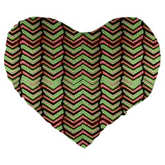 Zig Zag Multicolored Ethnic Pattern Large 19  Premium Heart Shape Cushions