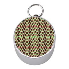 Zig Zag Multicolored Ethnic Pattern Mini Silver Compasses