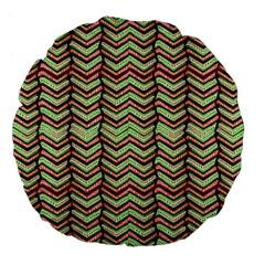 Zig Zag Multicolored Ethnic Pattern Large 18  Premium Flano Round Cushions