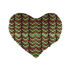 Zig Zag Multicolored Ethnic Pattern Standard 16  Premium Flano Heart Shape Cushions