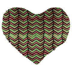 Zig Zag Multicolored Ethnic Pattern Large 19  Premium Flano Heart Shape Cushions