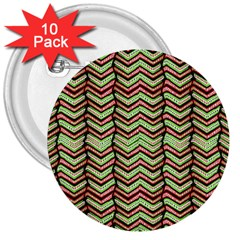 Zig Zag Multicolored Ethnic Pattern 3  Buttons (10 Pack)