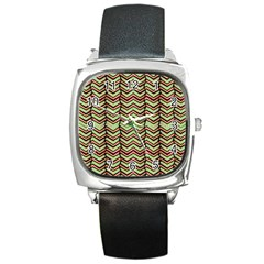 Zig Zag Multicolored Ethnic Pattern Square Metal Watch