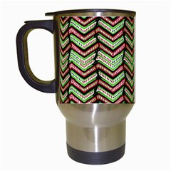 Zig Zag Multicolored Ethnic Pattern Travel Mugs (white)