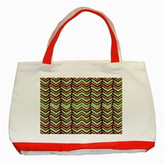 Zig Zag Multicolored Ethnic Pattern Classic Tote Bag (red)
