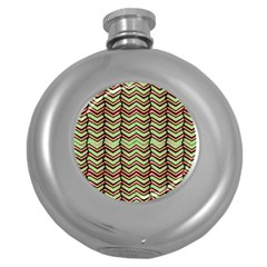 Zig Zag Multicolored Ethnic Pattern Round Hip Flask (5 Oz)