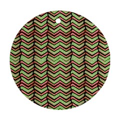 Zig Zag Multicolored Ethnic Pattern Round Ornament (two Sides)