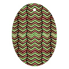 Zig Zag Multicolored Ethnic Pattern Oval Ornament (two Sides)