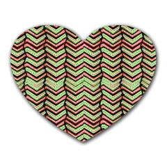 Zig Zag Multicolored Ethnic Pattern Heart Mousepads