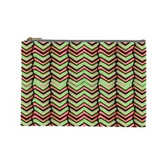Zig Zag Multicolored Ethnic Pattern Cosmetic Bag (large)