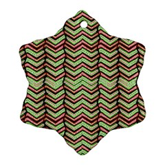Zig Zag Multicolored Ethnic Pattern Snowflake Ornament (two Sides)