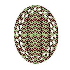 Zig Zag Multicolored Ethnic Pattern Ornament (oval Filigree)