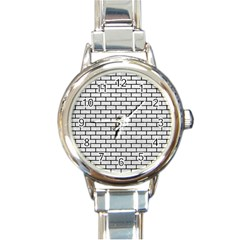 Brick1 Black Marble & White Leather Round Italian Charm Watch