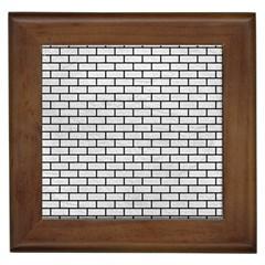 Brick1 Black Marble & White Leather Framed Tiles