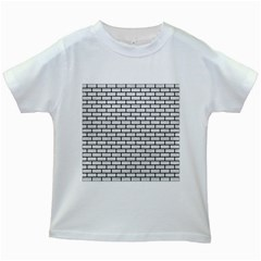 Brick1 Black Marble & White Leather Kids White T Shirts