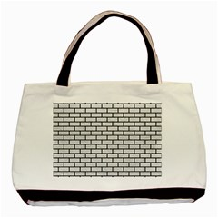 Brick1 Black Marble & White Leather Basic Tote Bag