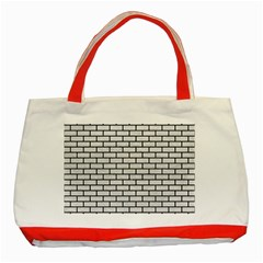 Brick1 Black Marble & White Leather Classic Tote Bag (red)