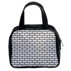 Brick1 Black Marble & White Leather Classic Handbags (2 Sides)