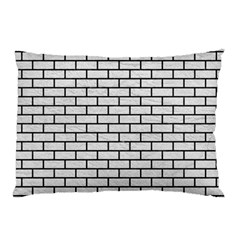 Brick1 Black Marble & White Leather Pillow Case (two Sides)
