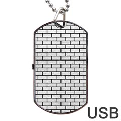 Brick1 Black Marble & White Leather Dog Tag Usb Flash (two Sides)