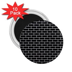 Brick1 Black Marble & White Leather (r) 2 25  Magnets (10 Pack)